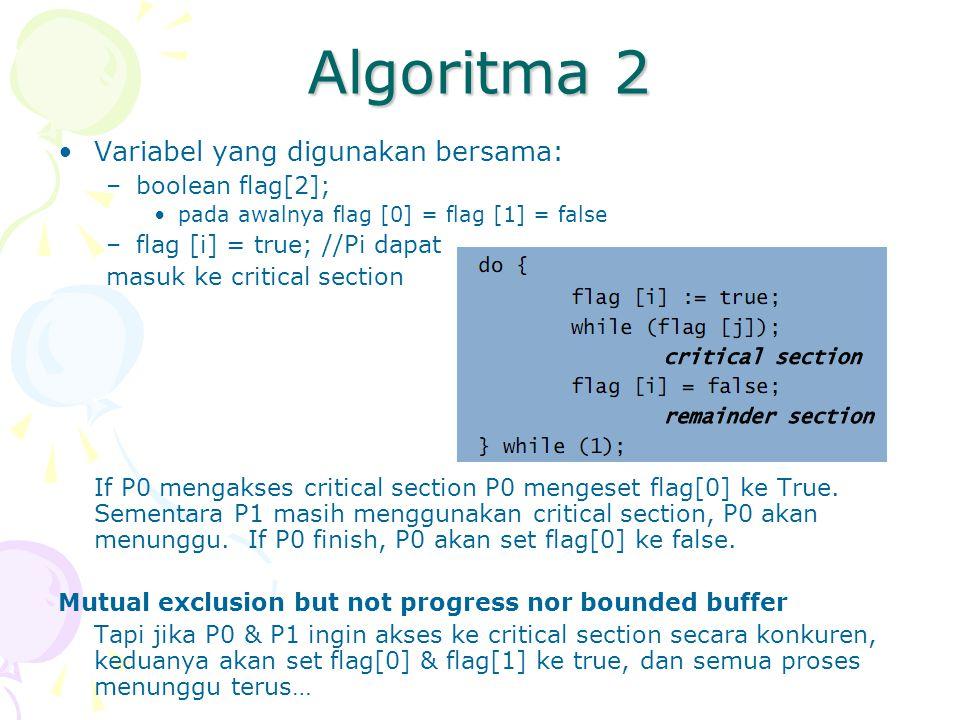 Algoritma 2 Variabel yang digunakan bersama: boolean flag[2];